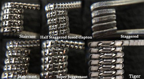 Готовые спирали (койлы): Staircase, Half Staggered Fused Clapton, Staggered, Tiger, Juggernaut